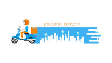 Delivery man riding scooter with delivery case box. Courier on the moto scooter. Delivery service banner. Vector illustration