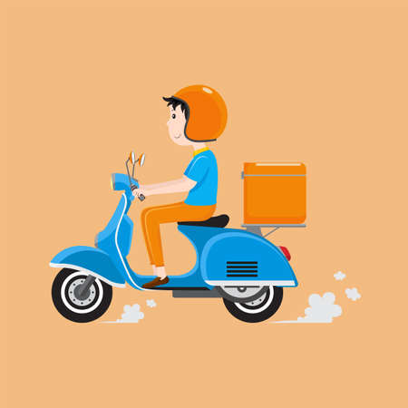 Delivery man riding scooter with delivery case box. Delivery service concept. Vector illustration Ilustracja