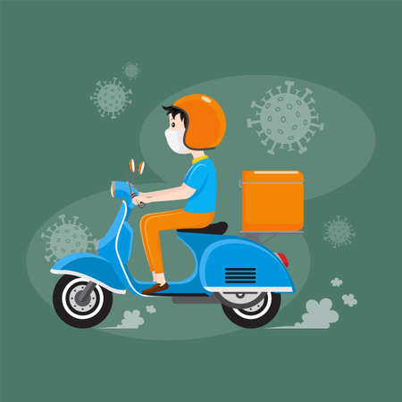 Delivery man wearing facial mask riding scooter with delivery case box, Delivery service during Covid-19 or Coronavirus outbreak situation. Vector illustration. Ilustracja