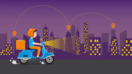 Delivery man riding scooter with delivery case box on the road in downtown area at night. Delivery Service business, Vector illustration.