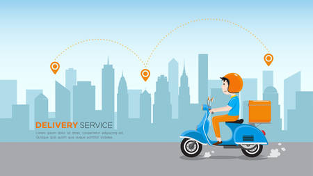 Delivery man riding scooter with delivery case box on the road in downtown area. Delivery Service business, Vector illustration.