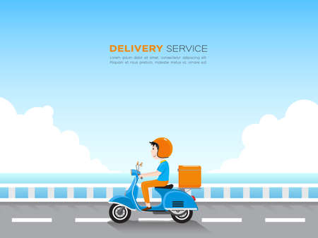 Delivery man riding scooter with delivery case box on the road by the blue sea and sky.  Delivery service concept. Vector illustration