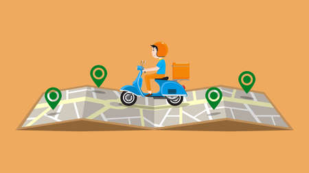 Fast delivery service by scooter. Vector illustration