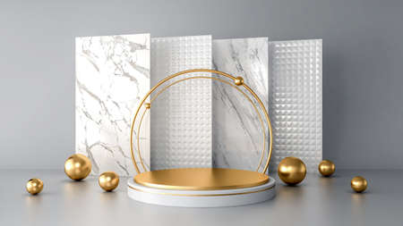 White abstract modern background with geometric shape podium for product presentation, 3d rendering