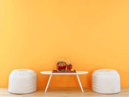 Room interior with empty orange wall with white furniture and infused water set, 3D Rendering Zdjęcie Seryjne