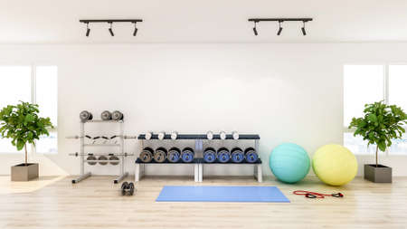 Modern gym interior with sport and fitness equipment, fitness center inteior, 3D Rendering