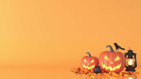 Halloween pumpkin, Jack O Lantern, Halloween decoration background with copy space, 3D rendering