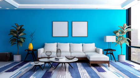 Modern and luxury blue living room interior background with blank photo frame for mock up, 3D Rendering Zdjęcie Seryjne