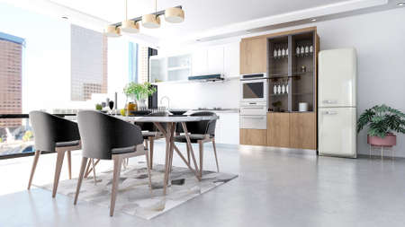 Modern contemporary stylish kitchen room interior, 3D Rendering
