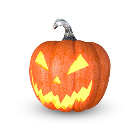 Halloween pumpkin, Jack O'Lantern, isolated with CLIPPING PATH, 3D Rendering Imagens