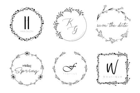 Floral wreath minimal design for wedding invitation or brand  . Vector template with flourishes ornament elements.