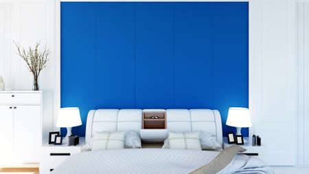 White modern contemporary bedroom interior with empty space on wall and floor, 3D Rendering