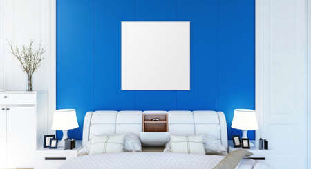 Blank empty photo frame on bedroom wall for mock up, 3D Rendering 写真素材
