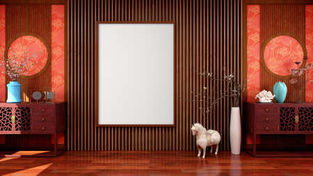 Blank empty canvas picture frame for mock up in Chinese traditional style living room, 3D Rendering 写真素材