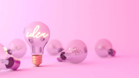 Idea word shining in the light bulb. Creativity and innovation concept, 3D Rendering 写真素材