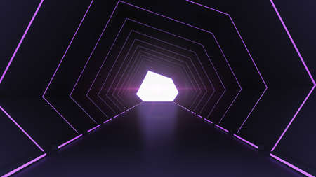Futuristic architecture sci-fi hallway and corridor tunnel interior with neon lights background, 3d rendering 写真素材