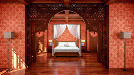 Interior of traditional Chinese style bedroom interior with furniture and wooden floor, 3d rendering