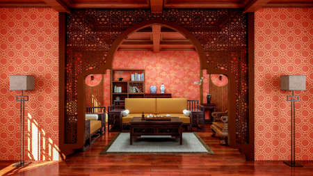 Interior of traditional Chinese style living room with furniture and wooden floor, 3d rendering