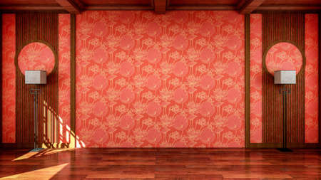 Interior of traditional Chinese style empty room open space with wooden floor, 3d rendering