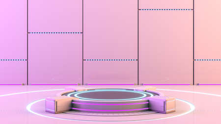 Futuristic sci-fi technology blank platform pedestal with blue and violet glowing neon lights for product presentation, 3d rendering