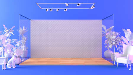 Backdrop stage platform in studio with decorative objects and props, 3d rendering