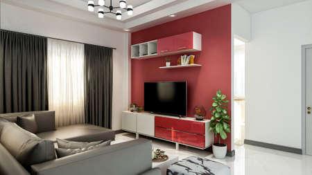 Small modern living room interior, 3d rendering
