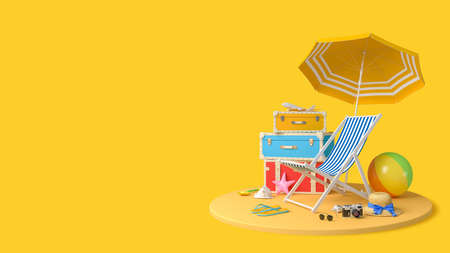 Traveler accessories, beach travel summer holiday vacation concept background, 3d rendering