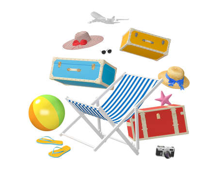 Traveler accessories, beach travel summer holiday vacation accessories on white background