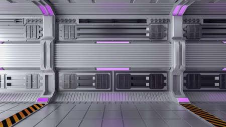 Empty Futuristic Sci-Fi Room Interior with Open Space, 3D Rendering Stock Photo