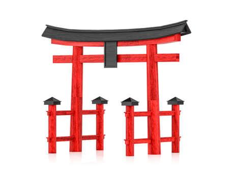 Japanese gateway Torii isolated on white background, 3d rendering Stock Photo