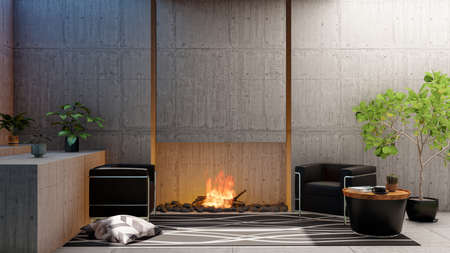 Loft interior living room apartment with fireplace and blank empty cement wall, 3d rendering