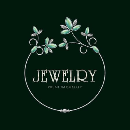 Jewelry frame logo, vector illustration