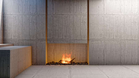 Empty loft style interior living room apartment with fireplace and blank empty cement wall, 3d rendering