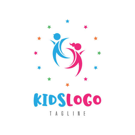 Kids logo concept, vector illustration