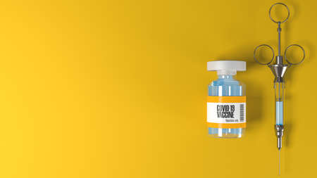 Vials with Coronavirus or Covid-19 vaccine and vintage syringe on yellow background and copy space for text, 3d rendering