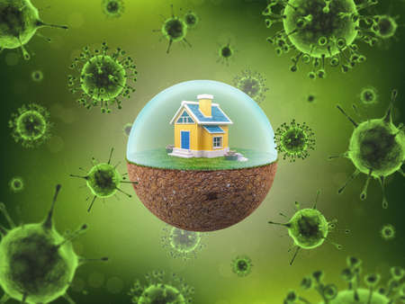 House in a Globe with Barrier to Prevent Coronavirus or Covid-19, Lock Down Concept during Coronavirus Quarantine, 3D Rendering