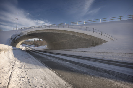 road with a tunnel in the winter