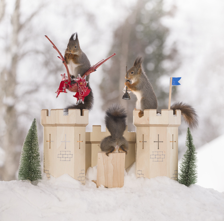 red squirrels with dragon and an castle in a winter
