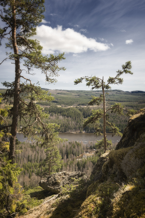mountain, forest, river landscape in middle Sweden