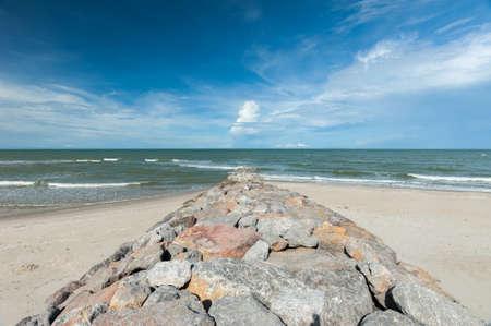 weir: Stone Weir on the beach Stock Photo