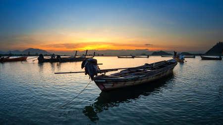estuary: Long tail Boat at Ranong estuary, Thailand