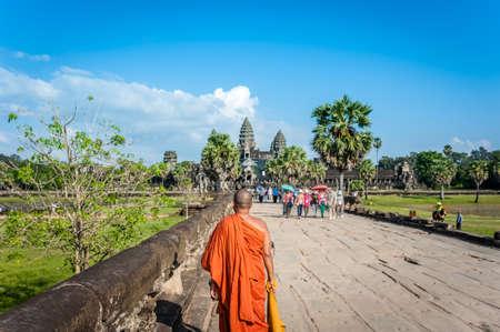 Monk in Angkor Wat Cambodia.Siem Reap, Cambodia. World Heritage landmark