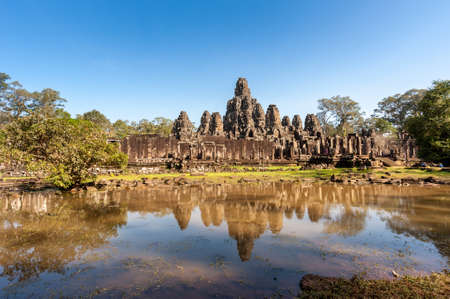 Bayon temple in Angkor Thom,landmark in Siem Reap, Cambodia. Angkor was inscribed on the UNESCO World Heritage List in 1992