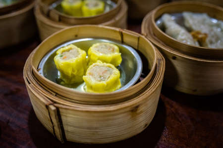 dim sum in bamboo steamer, chinese cuisine at a Chinese restaurant in Bangkok, Thailand