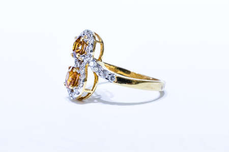 Gold ring with Yellow Sapphire Stock Photo