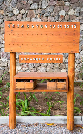 silver grass: Wooden Score board Petanque at Petanque court