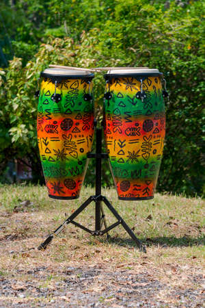 bongos: colorful Conga drum for party at Camp