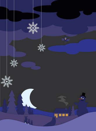 Winter landscape by night