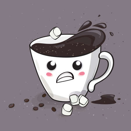 Cute coffee icon on gray background vector illustration. Иллюстрация
