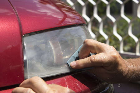 headlight polishing Foto de archivo